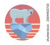 polar bear drifts on an ice...   Shutterstock .eps vector #2004403733