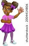 a young black little girl...   Shutterstock .eps vector #2004414806