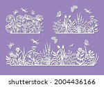 set of silhouettes of a flower... | Shutterstock .eps vector #2004436166