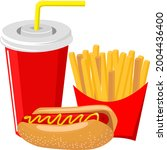 fast food menu  regular hot dog ...   Shutterstock .eps vector #2004436400