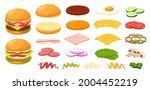 cartoon burger ingredients. bun ...   Shutterstock .eps vector #2004452219
