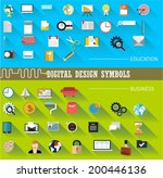 set of flat icons for mobile... | Shutterstock .eps vector #200446136