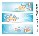 three medical banners with... | Shutterstock . vector #200450870