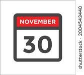november 30 calendar icon with...   Shutterstock .eps vector #2004543440