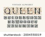 the word queen. vintage... | Shutterstock .eps vector #2004550019