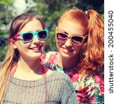 two young happy girlfriends in... | Shutterstock . vector #200455040