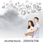 young couple hugging each other ... | Shutterstock . vector #200456708