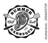 a vector bbq badge in vintage... | Shutterstock .eps vector #2004655739