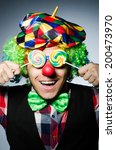 funny clown with sweet lollipop | Shutterstock . vector #200473970