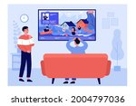 young people watching news... | Shutterstock .eps vector #2004797036