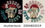 70s retro hippie mushroom...   Shutterstock .eps vector #2004802019