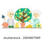 old man and old woman are happy ... | Shutterstock .eps vector #2004807089
