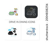 drive in dining icons set.food... | Shutterstock .eps vector #2004838256