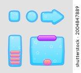 game ui buttons window set blue ...