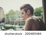 young lesbian stylish hair... | Shutterstock . vector #200485484