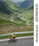 Small photo of SIBIU, ROMANIA - JULY 5, 2021: First edition of Transfagarasan Challenge cycling competition, one of the toughest amateur cycling races in Fagaras Mountains, Romania.