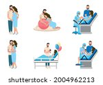 partner childbirth vector set.... | Shutterstock .eps vector #2004962213