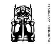illustration of a king sitting...   Shutterstock .eps vector #2004989153