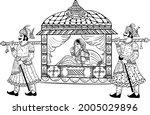 indian wedding symbol bride in...   Shutterstock .eps vector #2005029896