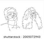 line art curly hair woman face... | Shutterstock .eps vector #2005072943