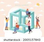 impossible challenge concept.... | Shutterstock .eps vector #2005157843