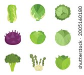 cabbage icons set. flat set of... | Shutterstock .eps vector #2005160180