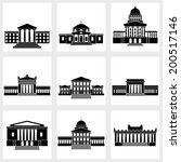 icons of buildings with columns ... | Shutterstock .eps vector #200517146