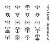 set of vector wireless icons... | Shutterstock .eps vector #200517188