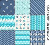 Navy vector seamless patterns set: waves, anchors, chains and strips - stock vector