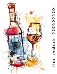 red wine water color | Shutterstock .eps vector #200532503