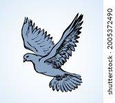 romantic grace volant dove... | Shutterstock .eps vector #2005372490