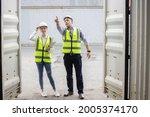 caucasian logistic worker open... | Shutterstock . vector #2005374170