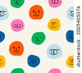 round abstract comic faces with ... | Shutterstock .eps vector #2005405076