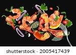 flying red chili pepper with... | Shutterstock .eps vector #2005417439