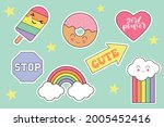 set of fashion patches  cute... | Shutterstock .eps vector #2005452416