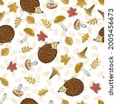 cute hedgehogs with leaves and... | Shutterstock .eps vector #2005456673