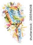 retro mic sketch | Shutterstock .eps vector #200546048