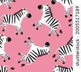 cute cartoon hand drawn zebra   ... | Shutterstock .eps vector #2005517189