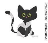 cute little black cat dressed... | Shutterstock .eps vector #2005523960