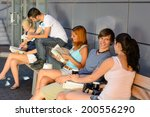 group of students with books... | Shutterstock . vector #200556290