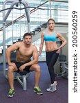 bodybuilding man and woman... | Shutterstock . vector #200560259
