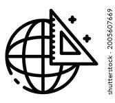 globe and triangular ruler icon.... | Shutterstock .eps vector #2005607669