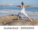 blonde woman standing in... | Shutterstock . vector #200563043