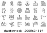 Gondolier Icons Set Outline...