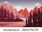 peaceful mountain lake river...   Shutterstock .eps vector #2005796759