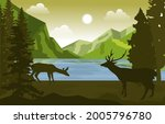 peaceful mountain lake deer...   Shutterstock .eps vector #2005796780