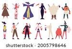 people in halloween costumes.... | Shutterstock .eps vector #2005798646