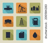 set of vector icons with oil... | Shutterstock .eps vector #200584283