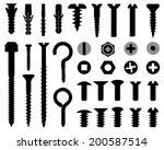 silhouettes of wall bolts  nuts ... | Shutterstock .eps vector #200587514