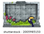 jungle stone game frame  vector ...
